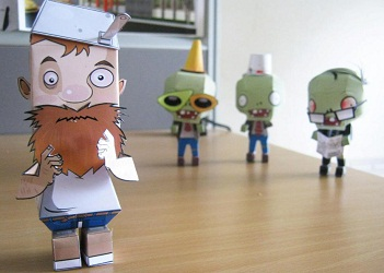 โมเดลกระดาษ-crazy-dave-papertoy-plants-vs-zombies-paperacraft