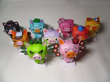cute-pig-family-paper-craft-model