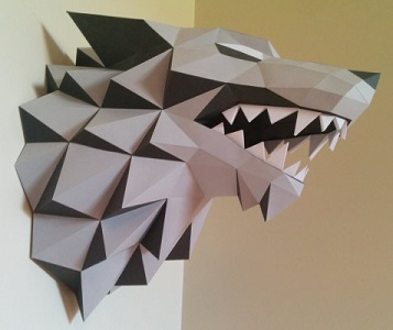 Game of Thrones Direwolf Bust Paper Craft